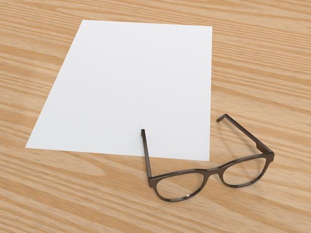 Papier vierge et verres sur plancher de bois rendu 3d Photo Premium