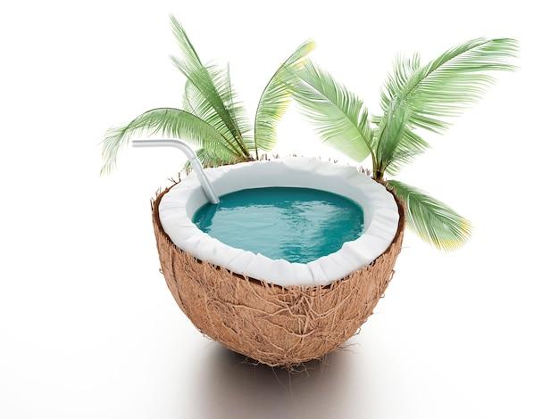 Paradis de la noix de coco concept de l'été sur fond blanc Photo Premium