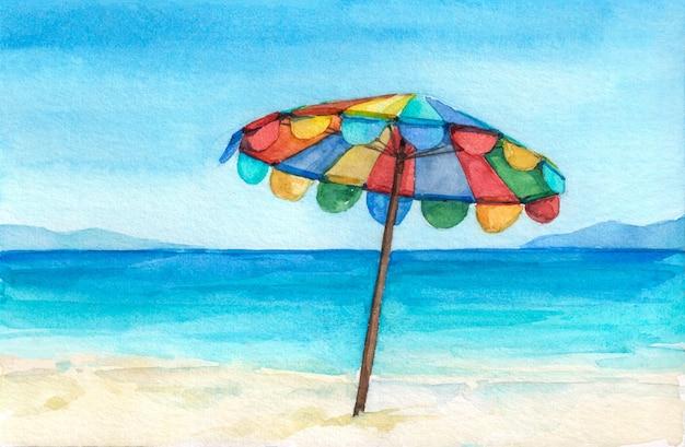 Parapluie De Couleur Arc-en-ciel Sur La Magnifique Plage Tropicale. Photo Premium