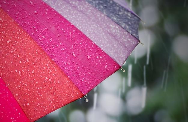Parapluie avec une goutte de pluie dans la journée pluvieuse Photo Premium