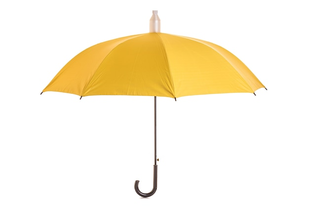 Parapluie Jaune Isolé Sur Blanc Photo Premium