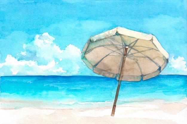 Parapluie Sur La Magnifique Plage Tropicale. Illustration Aquarelle Dessinée à La Main. Photo Premium