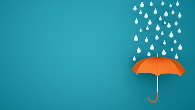 Parapluie Orange Avec Une Goutte D'eau Sur Un Fond Bleu - Saison Des Pluies Pour Les Oeuvres D'art - Illustration 3d Photo Premium