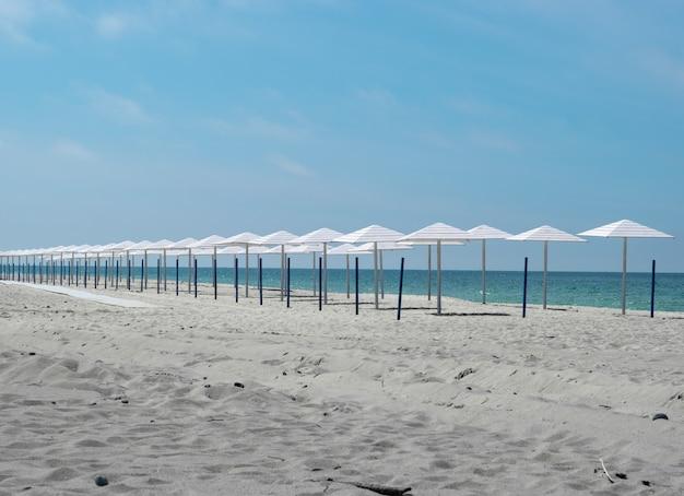 Parasols Blancs D'affilée Sur Une Plage De Sable Photo Premium