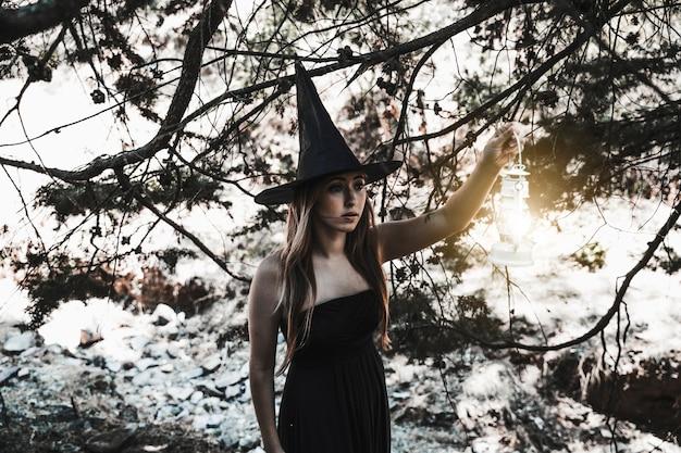 Parcours de sorcière d'halloween en forêt Photo gratuit