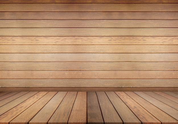 Parquet et mur en bois, pièce vide pour le fond. grande salle vide dans un style grange avec plancher en bois, mur blanc Photo Premium