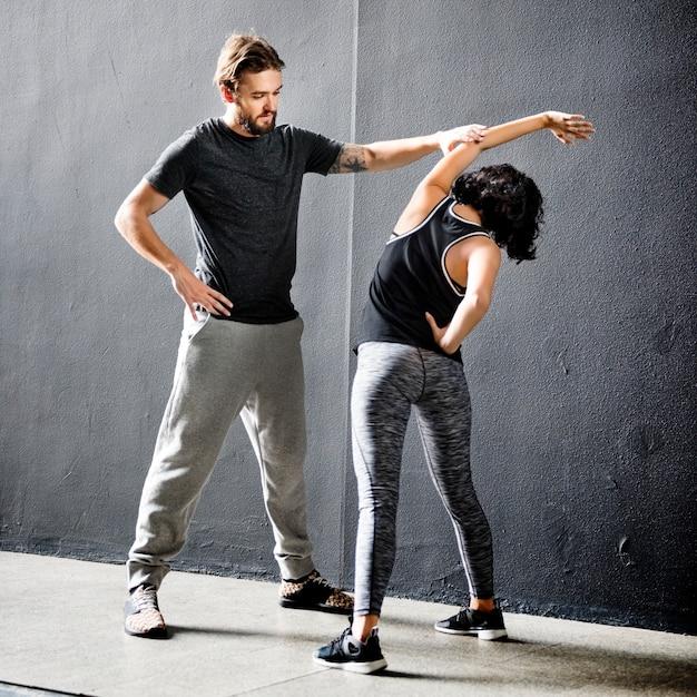 Partenaire Entraînement Stretching Concept Photo Premium