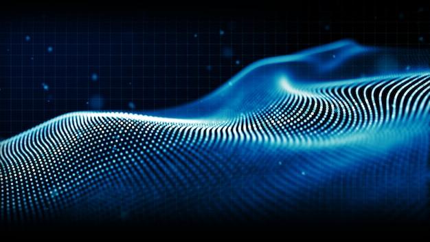 Particules numériques abstraites de couleur bleue vague de fond Photo Premium