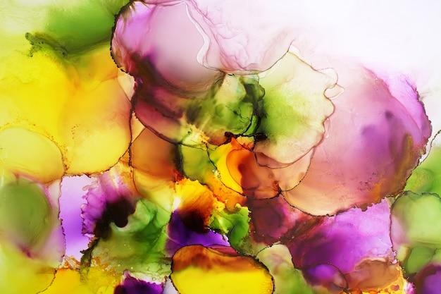 Partie de peinture à l'encre d'alcool originale, abstrait Photo Premium