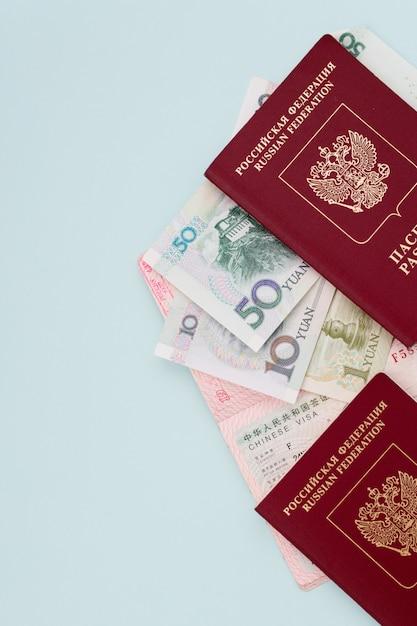 Passeport Pour Voyager à L'étranger, Visa, Formalités Administratives, Centre Des Visas, Permis De Sortie, Fond Bleu, Port En Main Photo Premium