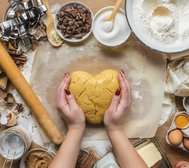 Pâtisserie, gâteaux, cuire leurs propres mains. mise au point sélective. Photo Premium