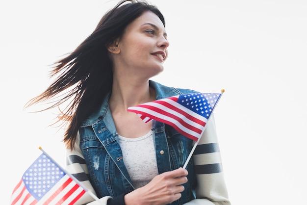 Patriotique, femme, tenue, drapeaux, amérique Photo gratuit