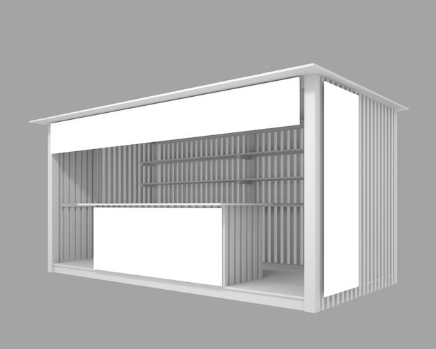 Pavillon en bois avec espace publicitaire, illustration 3d Photo Premium