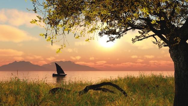 Paysage 3d avec un bateau sur une rivière contre un ciel coucher de soleil Photo gratuit
