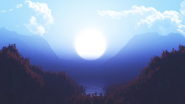 Paysage 3d avec forêt de pins et de montagnes Photo gratuit