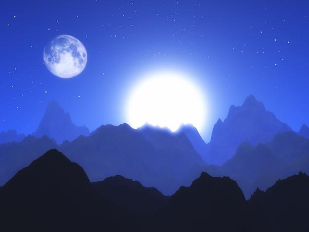 Paysage abstrait 3d avec la lune et le soleil Photo gratuit