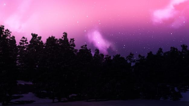 Paysage d'arbres 3d contre un ciel étoilé Photo gratuit