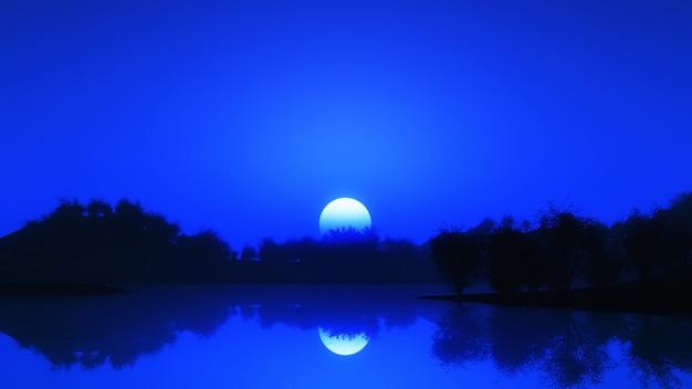 Paysage D'arbres 3d Contre Un Ciel Nocturne Photo gratuit
