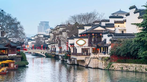 Paysage architectural antique de la rivière qinhuai à nanjing Photo Premium