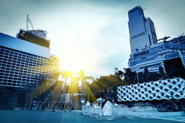 Paysage architectural urbain à hong kong Photo Premium