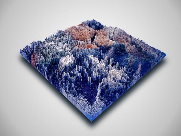 Paysage De Cube Isométrique 3d Avec Blocs D'extrusion Photo gratuit