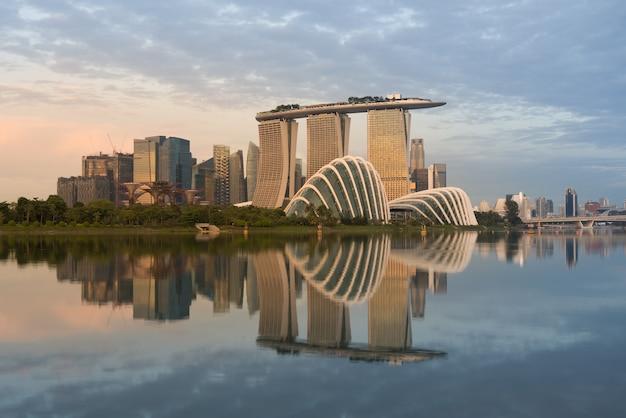 Paysage du quartier financier de singapour à marina bay, singapour. Photo Premium