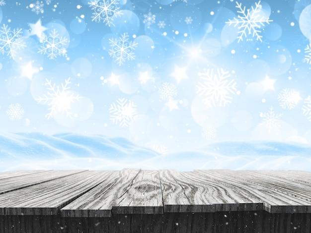 Paysage enneigé 3d avec des flocons de neige et une table en bois Photo gratuit