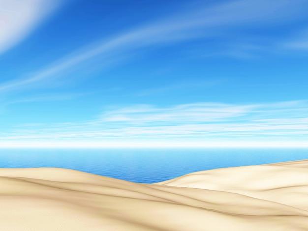 Paysage d'été en 3d avec sable et mer sur ciel bleu Photo gratuit