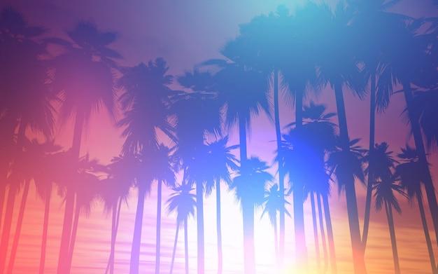 Paysage De Fond Avec Des Palmiers Photo gratuit
