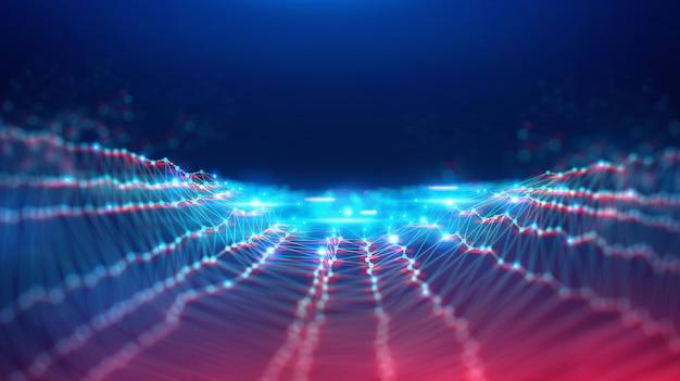 Paysage géométrique et technologie fintech de blockchain numérique futuriste. Photo Premium