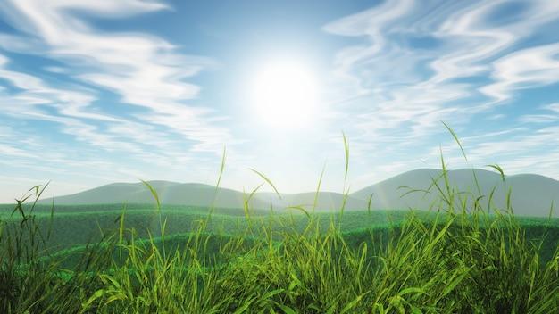Paysage herbeux 3d avec un ciel bleu ensoleillé Photo gratuit