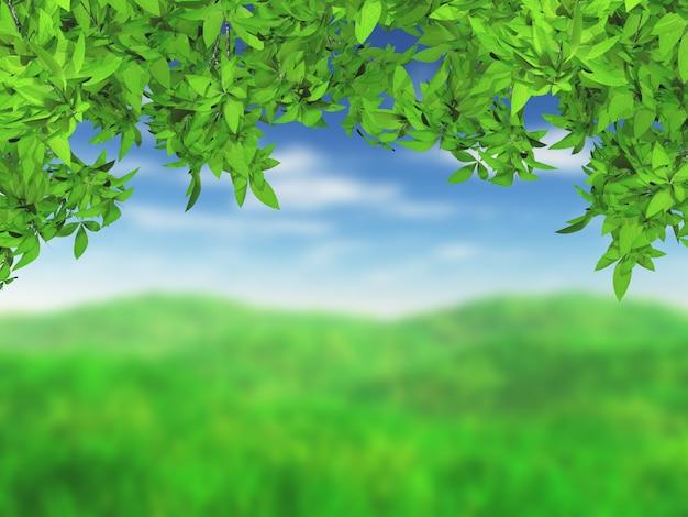 Paysage herbeux 3d avec des feuilles vertes Photo gratuit