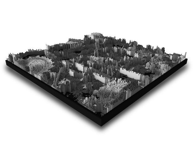 Paysage Moderne Abstrait 3d Avec Extrusion De Cubes Photo gratuit