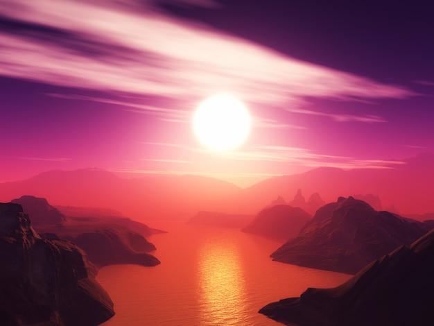 Paysage de montagne en 3d sur un ciel coucher de soleil Photo gratuit