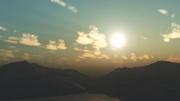 Paysage de montagne en 3d Photo gratuit