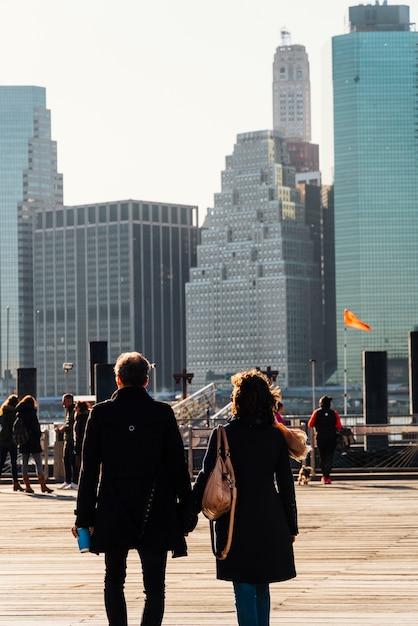Paysage de new york au lever du soleil Photo gratuit