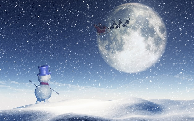 Paysage De Noël Avec Bonhomme De Neige Agitant Au Père Noël
