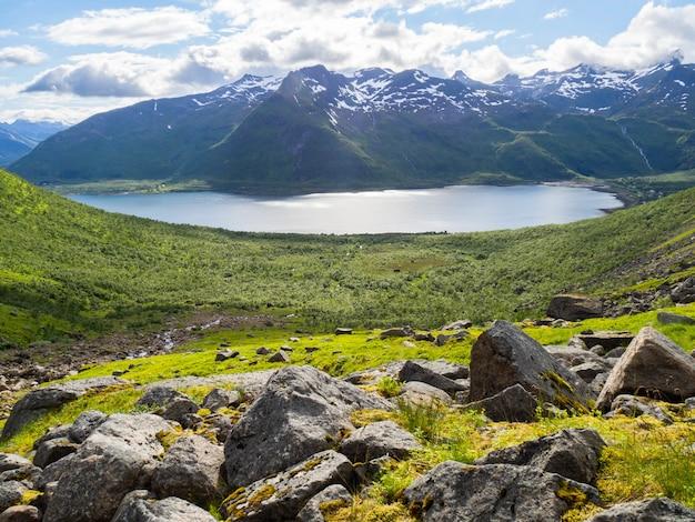 Paysage norvégien avec une vallée verdoyante entre les montagnes aux pics enneigés. Photo Premium