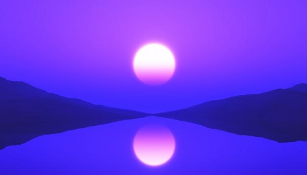 Paysage d'océan tranquille 3d avec coucher de soleil violet Photo gratuit