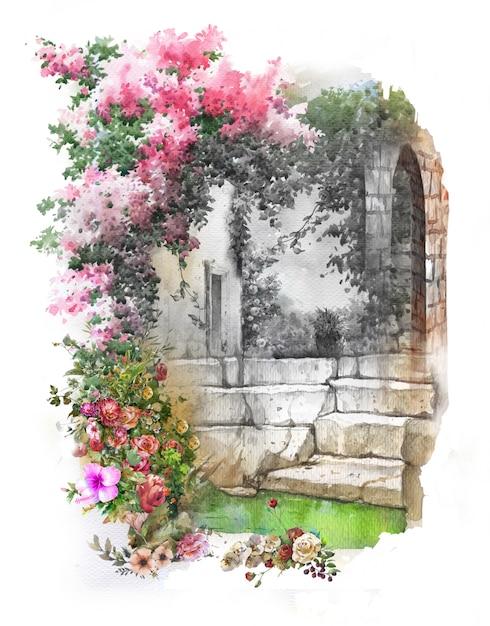 Paysage De Peinture Aquarelle De Fleurs Colorées Abstraites. Printemps Avec Bâtiments Et Murs Photo Premium