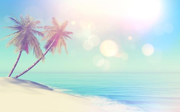 Paysage tropical 3d style rétro avec des palmiers Photo gratuit