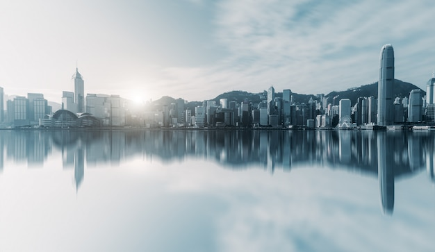 Paysage urbain architectural de hong kong Photo Premium