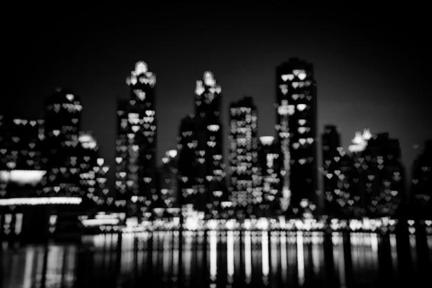 Paysage urbain de nuit de dubaï Photo Premium