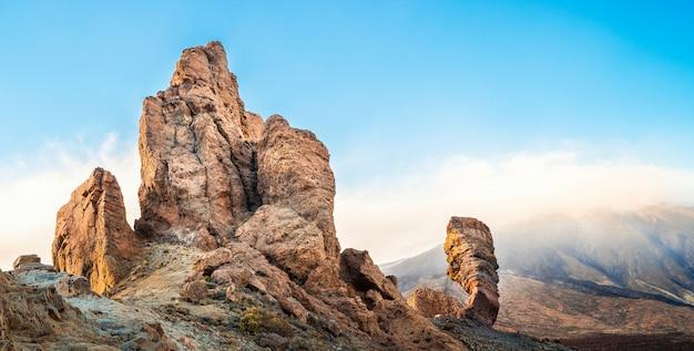 Paysage avec le volcan teide sur l'île de ténérife, en espagne. Photo Premium