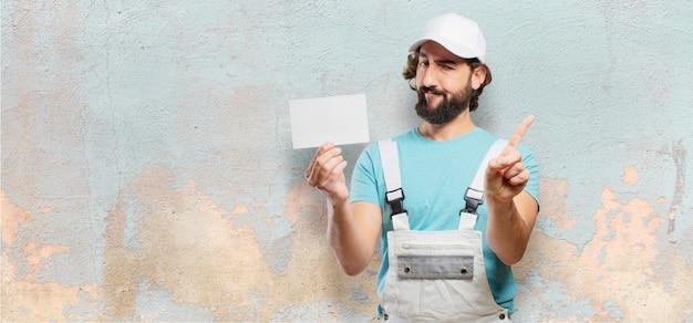 Peintre professionnel avec une pancarte Photo Premium