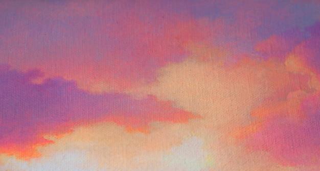 Peinture abstrait avec ciel doux texturé après le coucher du soleil Photo Premium
