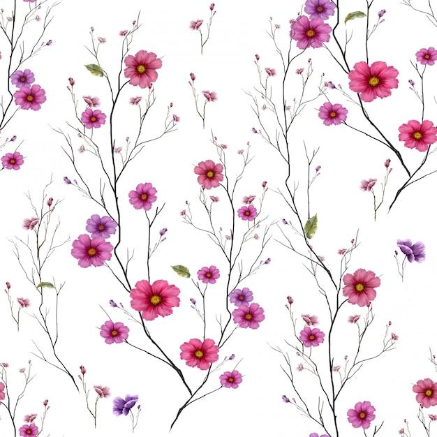 Peinture Aquarelle De Feuilles Et Fleurs, Modèle Sans Couture Sur Fond Blanc Photo Premium