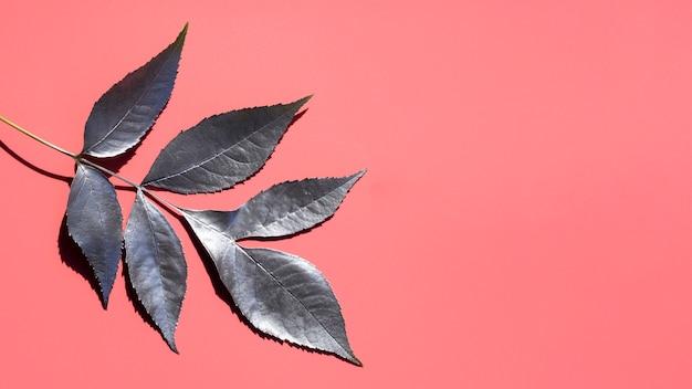 Peinture argentée de feuilles et de fond d'espace de copie rose Photo gratuit