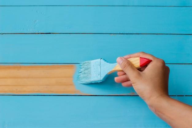 Peinture bleu fond en bois. Photo Premium