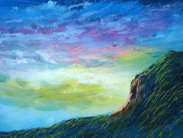 Peinture A L Huile Abstraite Ciel Bleu De Montagne Avec Nuage Photo Premium